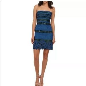 BCBGMaxAzria Dresses - BCBGMAXAZRIA BLUE LACE MANUELA DRESS 4 NWT $398.